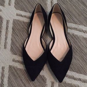 J crew pointed toe suede d'Orsay flats